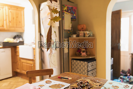 autumn crafts on dining table