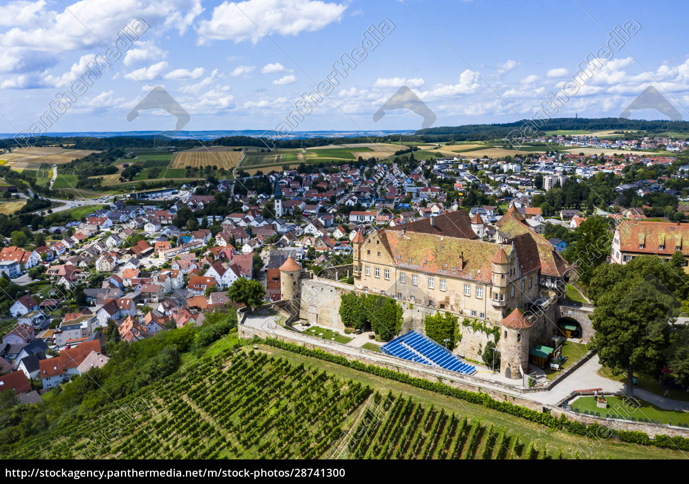 germany, , baden-wurttemberg, , untergruppenbach, , helicopter, view, of - 28741300
