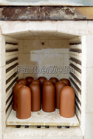 close up of brown ceramics in