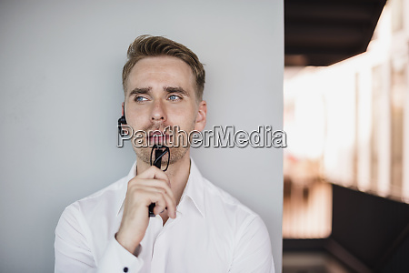 businessman doing a call with a