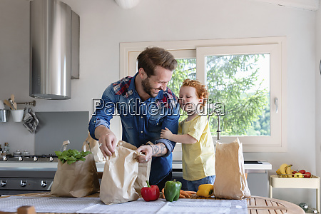 cheerful father and son with groceries