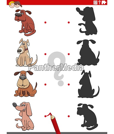 educational shadow game with dogs characters