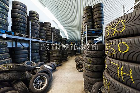 interior of rubber tires at illuminated