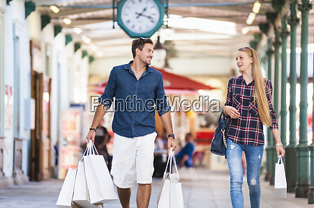 young couple on a shopping spree