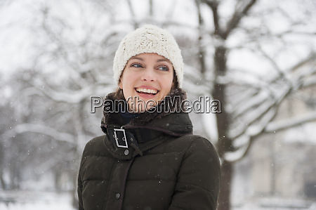 portrait of laughing woman in winter