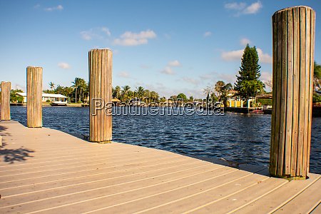 looking out over a dock in