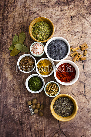 bowls of assorted seeds and spices