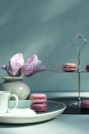macaroons on cake stand made of