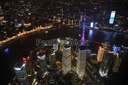 china shanghai aerial view of lujiazui
