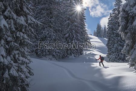 man during ski tour inzell kienberg
