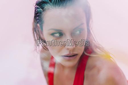 portrait of beautiful woman wearing red