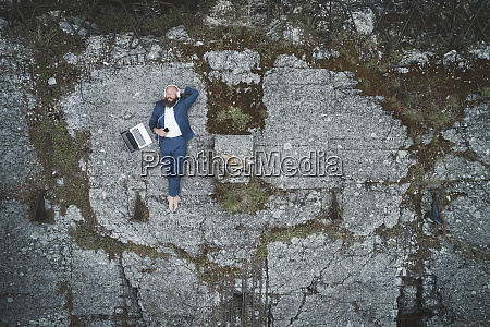 aerial view of businessman wearing suit