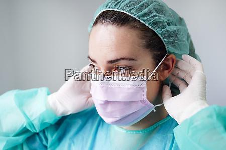 close up of female nurse wearing