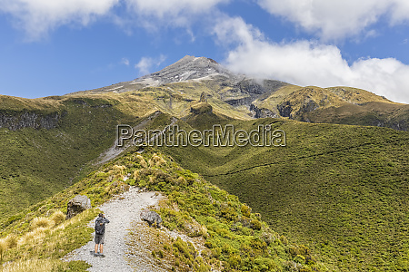 new zealand male hiker admiring scenic