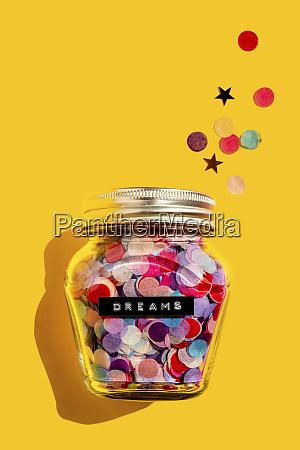 jar of colorful confetti