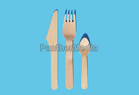 wooden cutlery fork knife and spoon