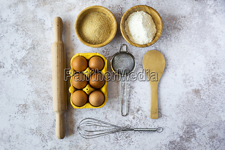 rolling pin wire whisk sieve chicken