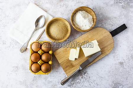 napkin spoon bowls of flour and