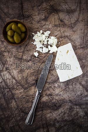 feta cheese bowl of fresh olives