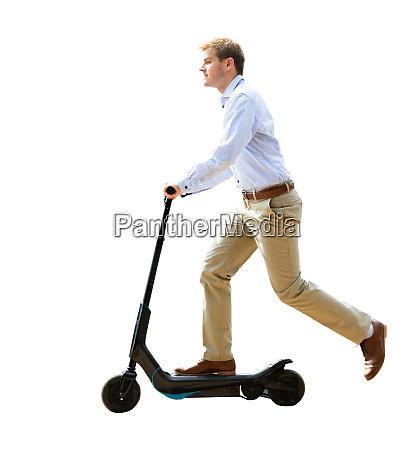 electric e scooter businessman driving