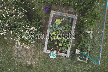 drone shot of mid adult woman