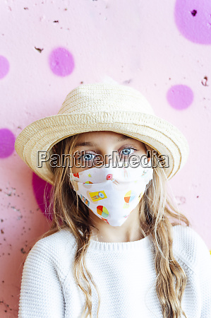 portrait of girl wearing face mask