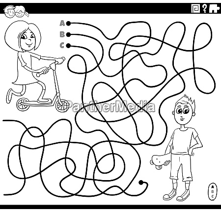 maze with girl and boy coloring