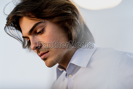 close up of thoughtful businessman looking