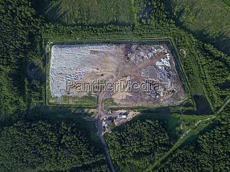 aerial view of forest garbage dump