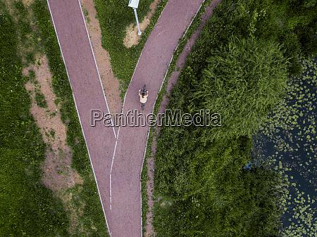 russia tikhvin aerial view of female