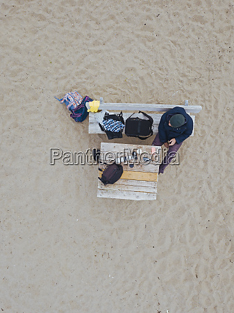 aerial view of man relaxing on