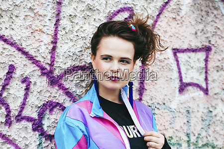 1980s retro styled woman standing in