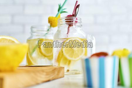 jars of homemade lemonade
