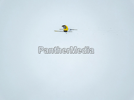 russia aerial view of female skier