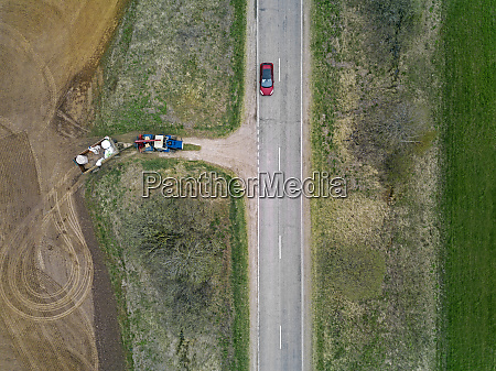 russia aerial view of car driving