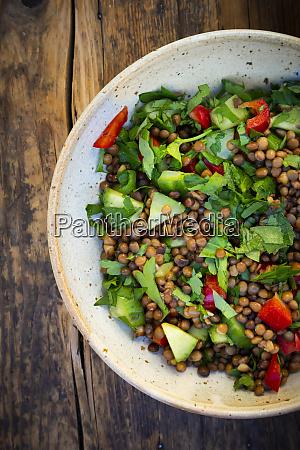 bowl of vegan lentil salad with