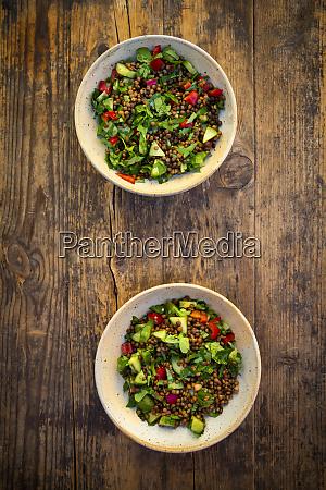 bowls of vegan lentil salad with