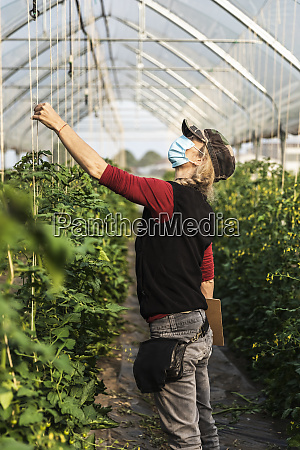female farm worker with surgical mask