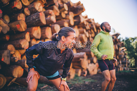 mature couple exercising while standing against