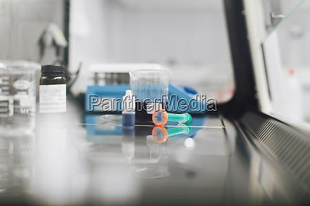 laboratory equipment on desk