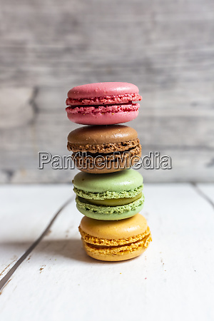stack of colorful macaroon biscuits