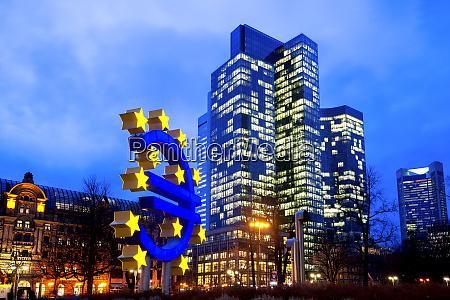 germany, , hesse, , frankfurt, , euro, sculpture, at - 28759387