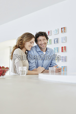 portrait of smiling affectionate couple in