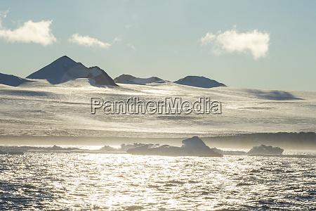 coastal glaciers oftabarinpeninsula at dusk