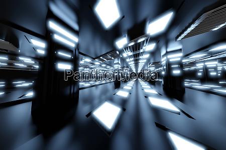 three dimensional render of futuristic interior