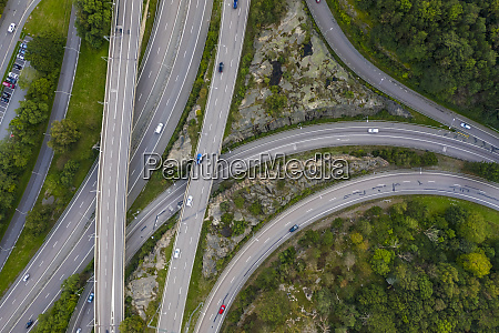 sweden gothenburg aerial view of highways