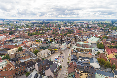 sweden scania lund aerial view of