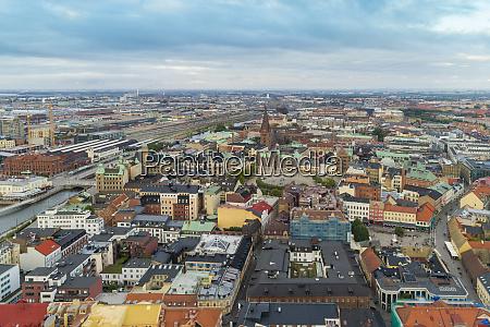 sweden scania malmo aerial view ofslussenneighbourhood