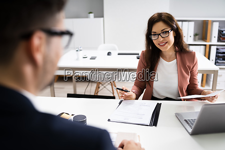 job interview business manager talking to