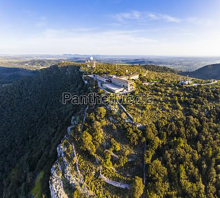 spain mallorca drone view of santuari